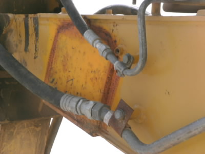 broken used backhoe loader boom